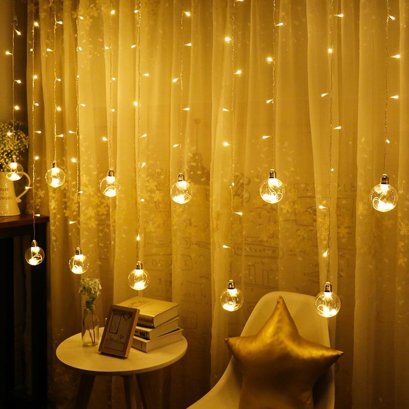 Globe Ball Indoor Window Christmas Curtain Light 3M 120 LED Wedding Balcony Home Fairy Light String 8MODE Holiday Garden Decor