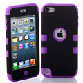 Híbrido 3 em 1 high impact case capa para apple ipod touch 5 5th generation preto roxo case