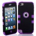 Hybrid 3 en 1 high impact case cubierta para apple ipod touch 5 5th generation case negro púrpura