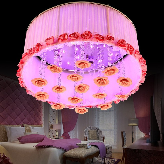 fabric round rose ceiling lamps living room bedroom wedding room ...