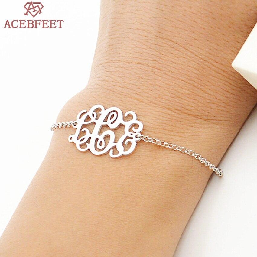 A B C D E F G H I J K L M N O P Q R S T U V W X Y Z Stainless Steel Jewelry Mongramm Initial Letter Custom Name Bracelet Women