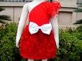 Vestido de Partido del bebé Muchacha de Los Cabritos Ropa Del Bebé Vestidos de Princesa Dress De Los Niños Red Rosette Con Lazo Blanco KP-EDS07