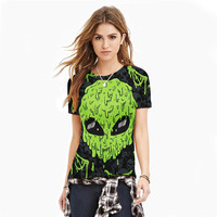 2016 New Arrival Harajuku 3d Tshirt Skeleton Ghost Warrior Print T Shirt Womens T Shirts Casual