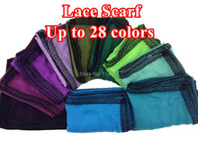 10 pçs/lote laço afiou Scarf Shawl envoltório principal liso cor sólida longo xailes lenços Hijab muçulmano, Frete grátis
