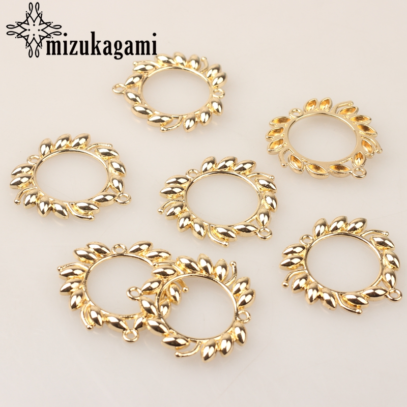 Zinc Alloy Charms Golden Lace Round Flowers Charms Pendants 6pcs/lot For DIY Connection Jewelry Earrings Making Accessories
