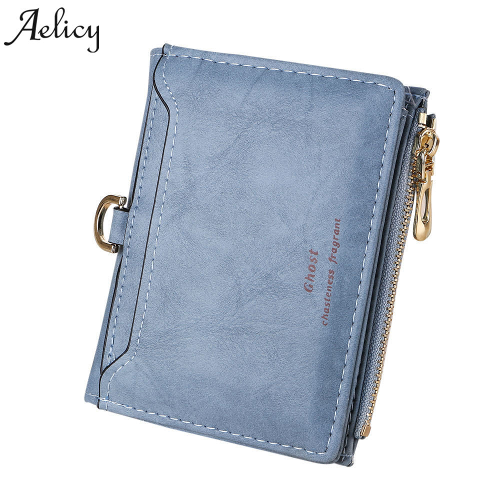 Aelicy 2018 Women Wallet Leather Female Short Card Holder Coin Purse Girl Brand Mini Carteira Thin Wallets Woman Small Wallet wallet