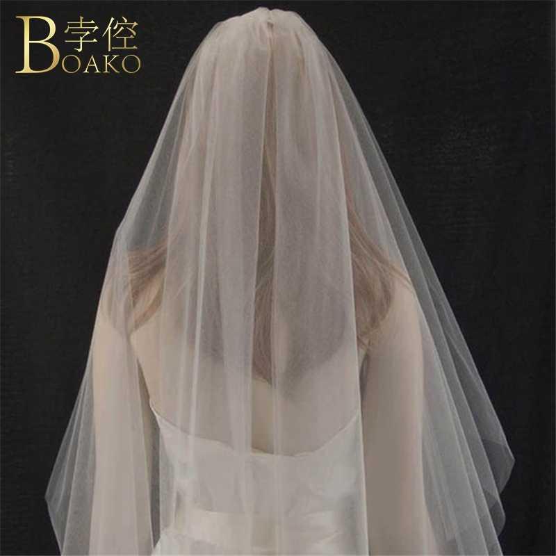 BOAKO Minimalismo 1.5 m Veli da sposa Accessori Da Sposa Avorio Da Sposa Doppio Strato di Velo Bianco Della Sposa Acconciature Veli K5