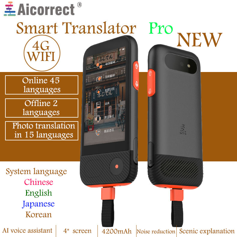AIcorrect traducteur Pro 4200 mah voix photo traduire hors ligne traduction multi-langue Interprète 4g/WIFI 45 langues