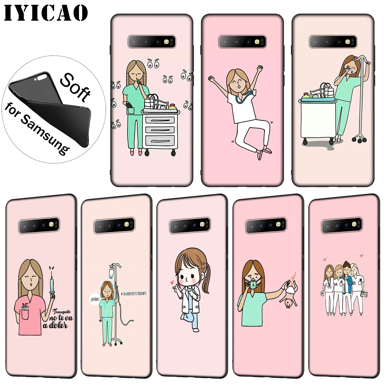 Iyicao Cartoon Doctor Nurse Hot Fashion Fun Dynamic Soft Silicone Case For Samsung Galaxy S10 S9 S8 Plus S6 S7 Edge S10e E Cover Warm And Windproof Fitted Cases