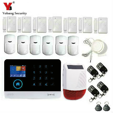 YobangSecurity Wireless WiFi GSM GPRS RFID Home Alarm System with Solar Power Siren,Door Sensor Motion Detector for Security yobangsecurity touch keypad wifi gsm gprs home security voice burglar alarm ip camera smoke detector door pir motion sensor