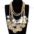 Панк светит панк большие круглые монеты 3 цветов бусины колье ожерелье