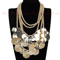 Punk Shining Punk Big Round Coins Pendant 3 Colors Bead Choker Necklace