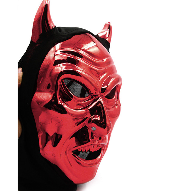Scary Red Devil Mask With Horn