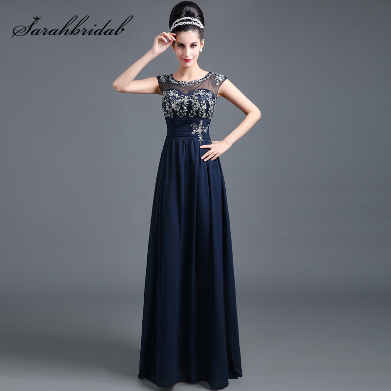 New Fashion Prom Dresses Sheer Back Zipper Sweetheart Lace Cap Sleeve with Beaded A Line Navy Blue Romantic Evening Gowns SD294