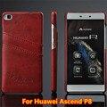 Casos para huawei p8 graxa vitrificada da qualidade superior de luxo estojo de couro de volta caso capa para o huawei ascend p8 slots de cartão carteira saco do telefone