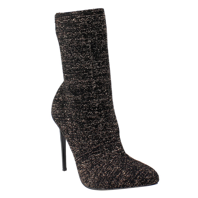 Women's Shoes Glitter Knitted Stretch Sock Ankle Boots