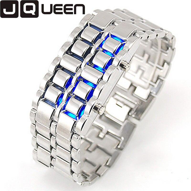 2017 New Fashion Men Gold Lava Iron Samurai Metal LED Faceless Bracelet Watch Lover Couple Wristwatch