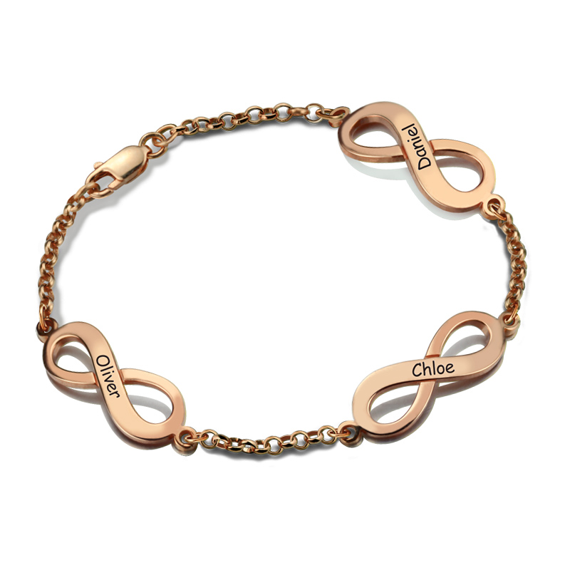 AILIN Rose Gold Color Infinity Bracelet Hand Stamped Name Bracelet Triple Infinity with Names Infinity Symbol Bracelet for Women infinity owl elephant layered bracelet