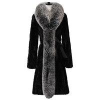 Натуральный мех пальто норки пальто и куртки Лисий Мех Collor корейский длинное зимнее пальто Для женщин топы плюс Размеры 4XL женская одежда 2018