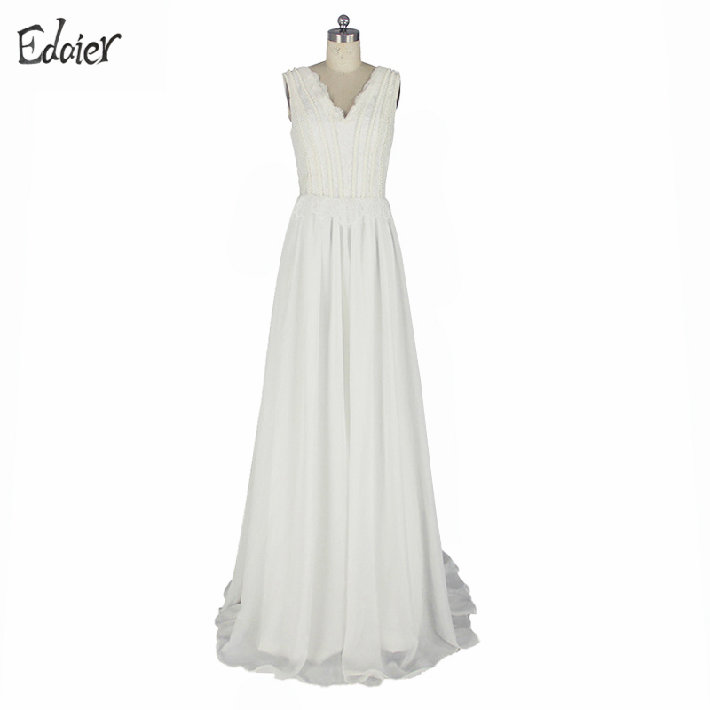 Elegant Ivory Simple Beach Wedding Dress Casual V Neck