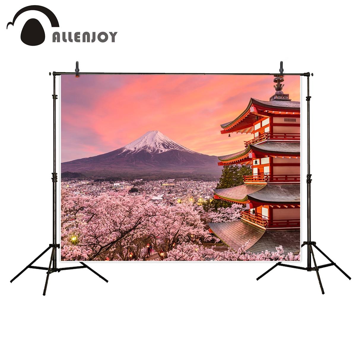 Allenjoy photography background Mount Fuji Architecture sakura snow mountain Japanese style sunset Natural Scenery backdrop kate background natural scenery