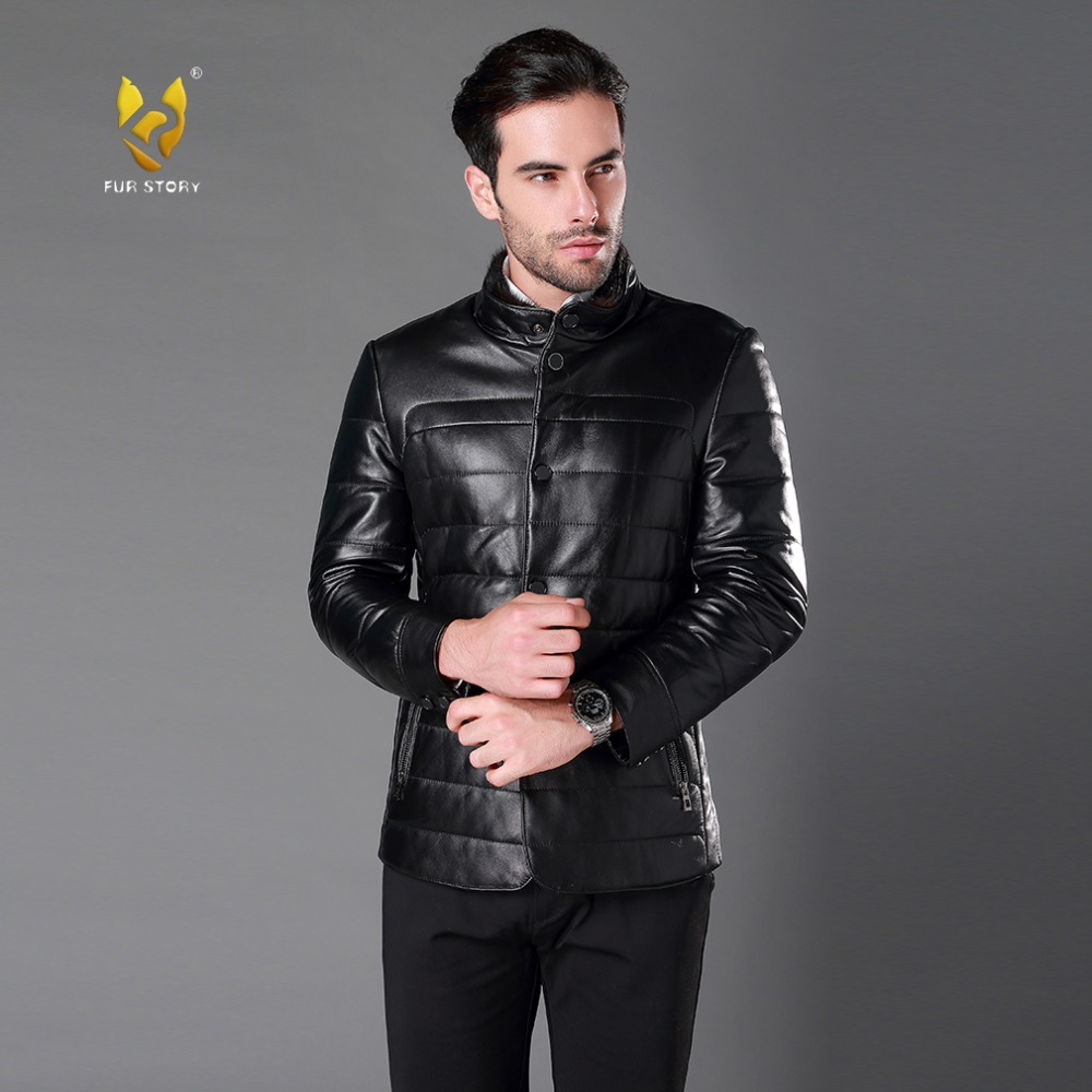 Fur Story 16964 Men's Genuine Sheep Leather Down Coat Real Mink Fur Collar Stand-up Collar Jacket