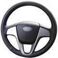 Черный Искусственная Кожа Автомобилей Руль Обложка для Hyundai Solaris Verna i20 2008-2012 Акцент