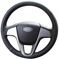 Black Artificial Leather Car Steering Wheel Cover for Hyundai Solaris Verna i20 2008-2012 Accent