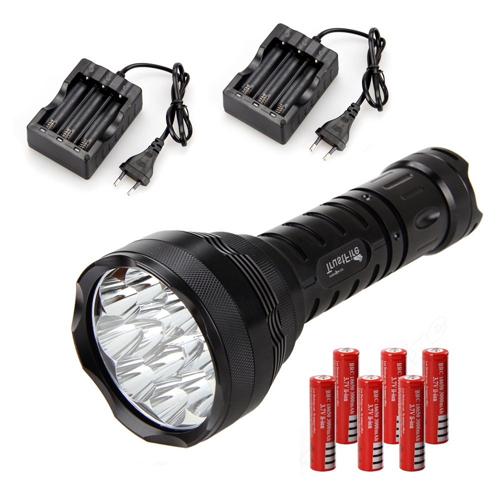 15000 Lm 12x XM-L R8 LED Hunting Flashlight Led Light Lamp+6x18650 Torch +Charger 3800 lumens cree xm l t6 5 modes led tactical flashlight torch waterproof lamp torch hunting flash light lantern for camping z93
