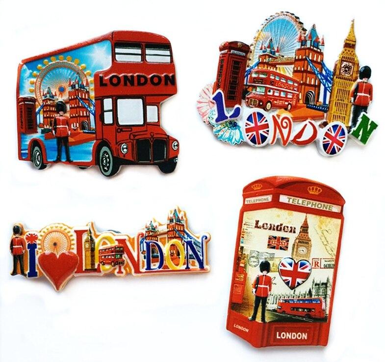 Britischen London Bus Telefonzelle Harz 3D Kühlschrankmagnete Tourismus Souvenirs Kühlschrank Magnetischen Aufkleber Hause Decortion