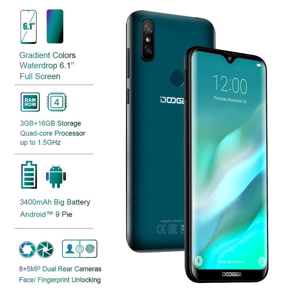 "DOOGEE Y8 Waterdrop Screen Smartphone 6.1""FHD 19:9 Display 3400mAh MTK6739 Quad Core 3GB RAM 16GB ROM Android 9.0 4G LTE Mobile"