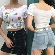 Sexy Women's Off Shoulder T-Shirt Floral Print Short Sleeve Crop Top Summer Club Fashion Female T-shirt Casual Thin Tops sexy off shoulder random floral print top