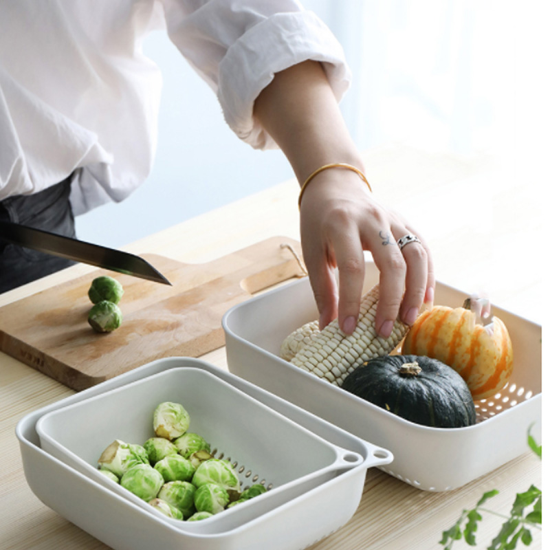 3 Pcs/Set Retractable Hollow Vegetable Basket Drain Screen Set Kitchen Fruit Storage Wash Basin