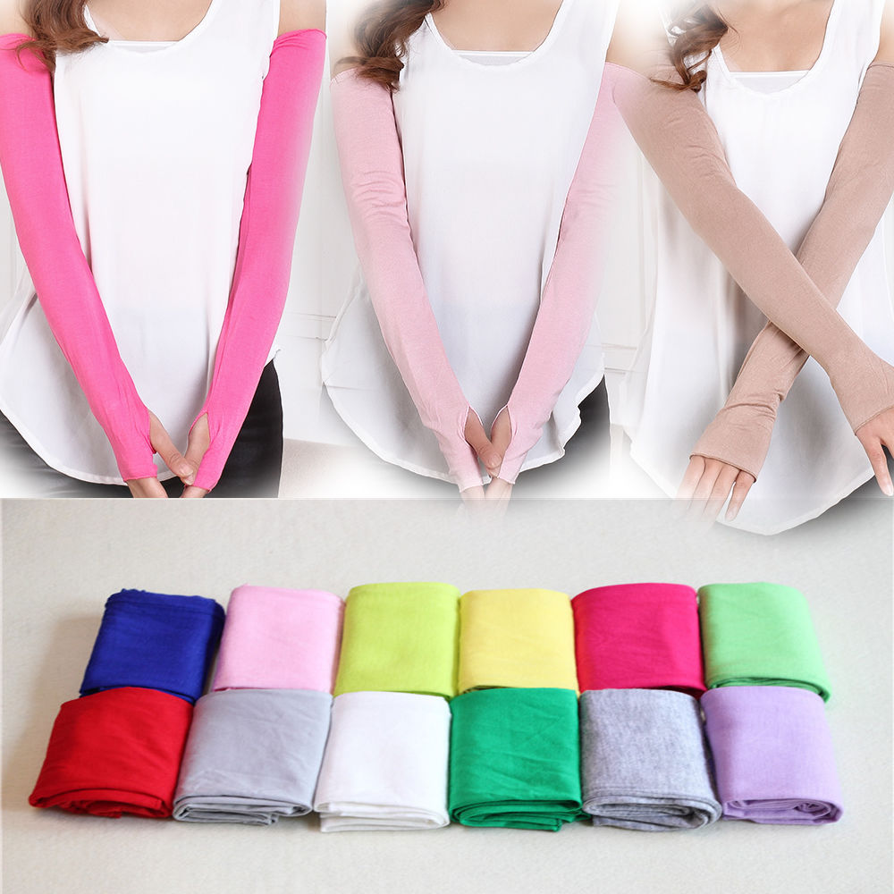 New Fashion 1 Pair Women Girl 19 Colors Cosy Arm Warmer Cotton Long Fingerless Gloves Popular Clothing Accessories