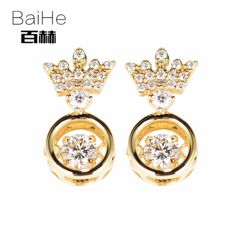 BAIHE Solid 14K Yellow Gold 0.20CT H/SI 100% Genuine Natural Diamond Round CUT Wedding Trendy Fine Jewelry Elegant Stud Earrings 14k yellow gold over 2 ct d vvs1 round cut stud earrings