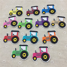 12pcs 55x50mm Mixed Truck Patches DIY Embroidered Tractor Appliques Iron On Fabric Badges Sewing Stickers