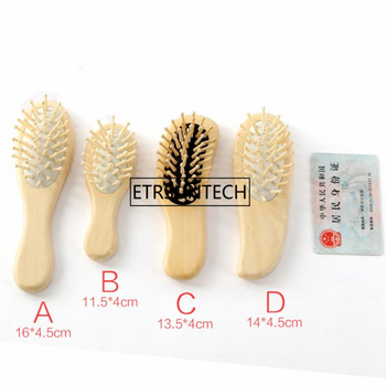 Mini Wooden Hair Vent Brush Brushes Hair Care and Beauty SPA Massager Massage Comb F1644