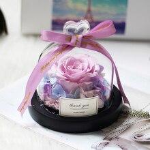 Уникальная стеклянная купольная роза с освещением, настоящая Роза и красавица, сохраненная Роза, подарок на день Святого Валентина
