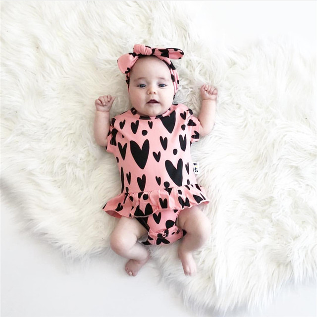 c0a34e4d3006 Newborn Baby Girl Bodysuit Cute Baby Clothes Heart printing Short Sleeve  Cotton Baby Bodysuits Body Bebes Clothing with Headband