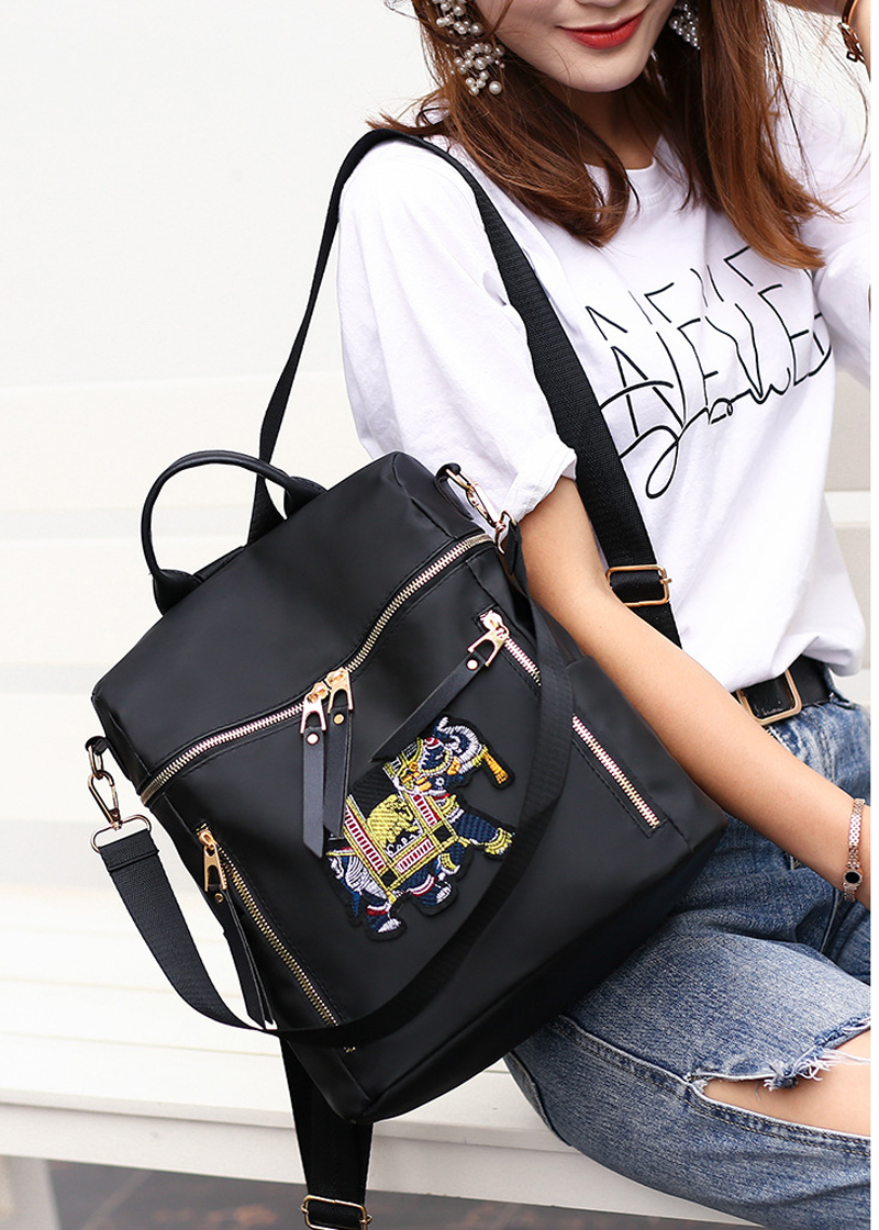 4PCS LOT Fashion Nylon Backpack Women Embroidered Waterproof Travel Backpack Soft Female Black Femme Bagpack in Backpacks from Luggage Bags