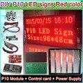 Настраиваемые DIY P10 Красный Цвет Полу-открытый СВЕТОДИОДНЫЙ дисплей знак, P10 СВЕТОДИОДНЫЙ Модуль + Контроллер + питание + 16 P Кабель + Алюминиевая рама