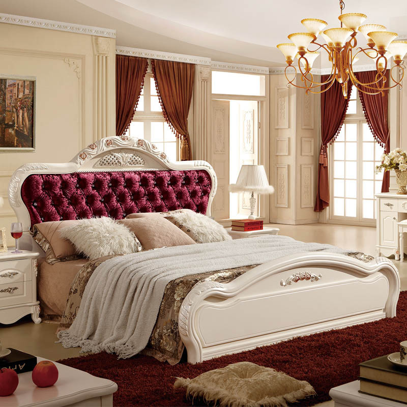 2 pcs lot latest designs fashion best royal solid wood bedroom furniture set with knobs - Fashion Bedroom Furniture