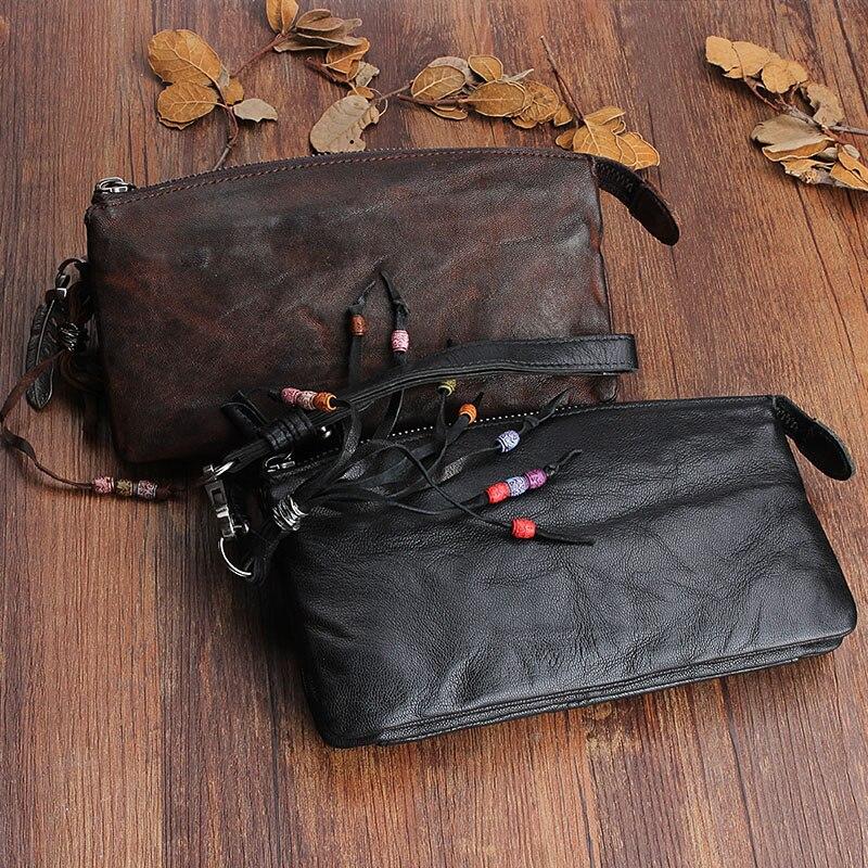 AETOO Original design handmade หนังยาวกระเป๋าสตางค์สุภาพสตรีชั้น sheepskin vintage ขนาดใหญ่พับ Vintage-ใน กระเป๋าสตางค์ จาก สัมภาระและกระเป๋า บน   2