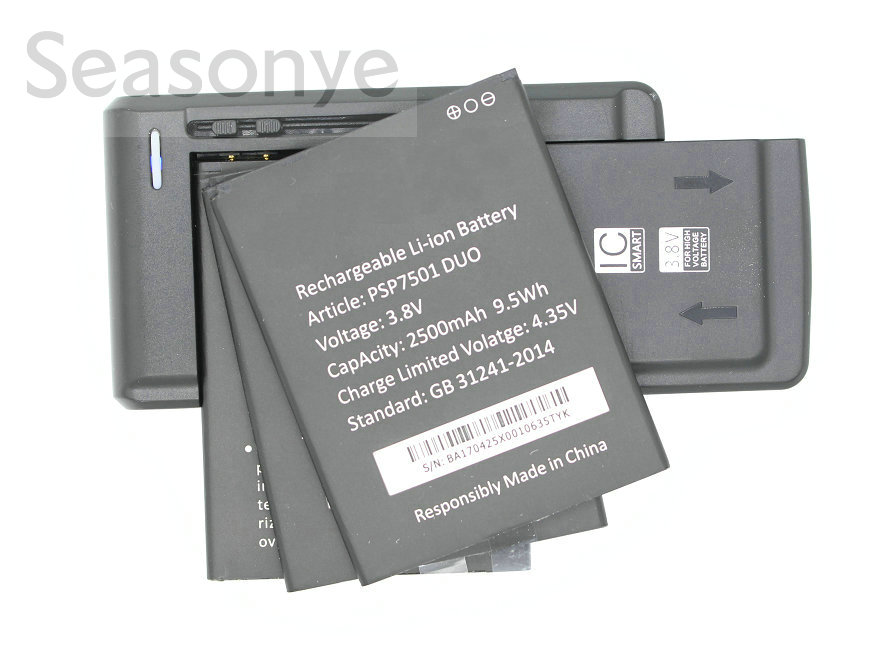 Seasonye 3x 2500mAh / 9.5Wh PSP7501 DUO Replacement Battery + Universal Charger For Prestigio Grace R7 PSP 7501 DUO PSP7501 DUO