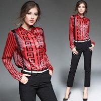 Новая одежда женская Европейская мода с длинным рукавом Элегантная блузка дизайн винтажные топы с принтом ДАМЫ stripe Sleeve Shirt
