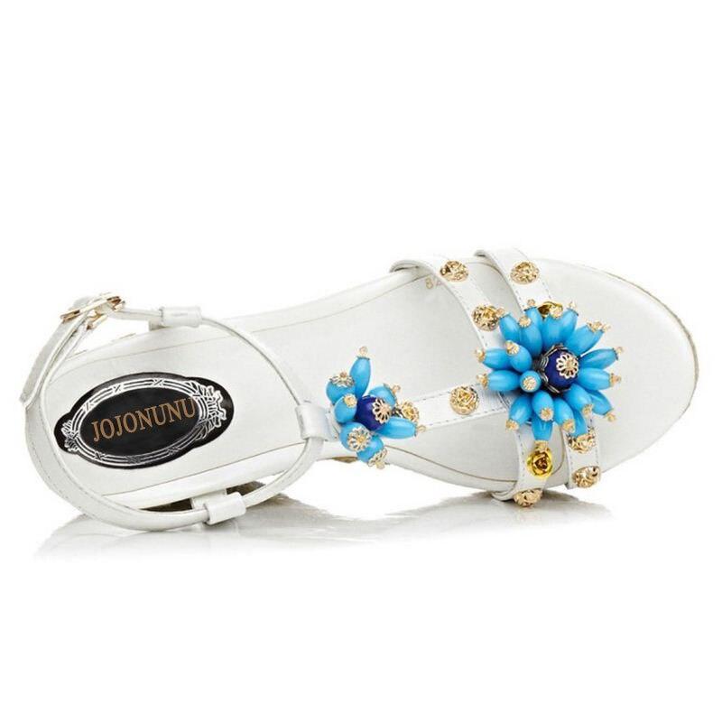 Fleur blanc Haute forme Bagatelle Taille Véritable Coins D'été Femmes Jojonunu Natioan Plate 39 Réel Noir 34 En Cuir Sandales Chaussures Style pSUVqzM