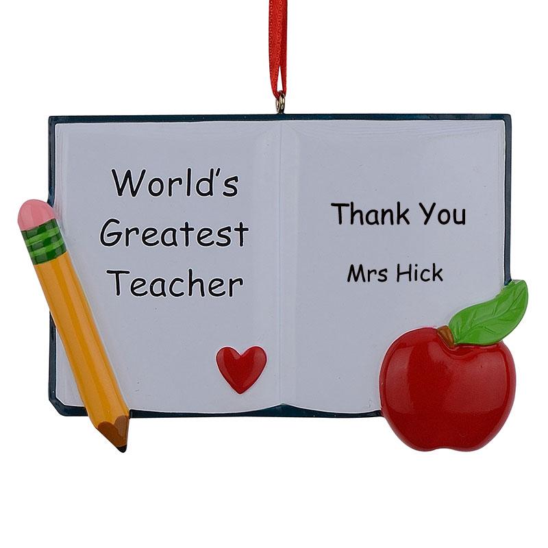 도매 세계에서 가장 중대한 교사 책은 휴일 선물을 위해 것과 같이 개인화 한 Polyresin 크리스마스 장신구
