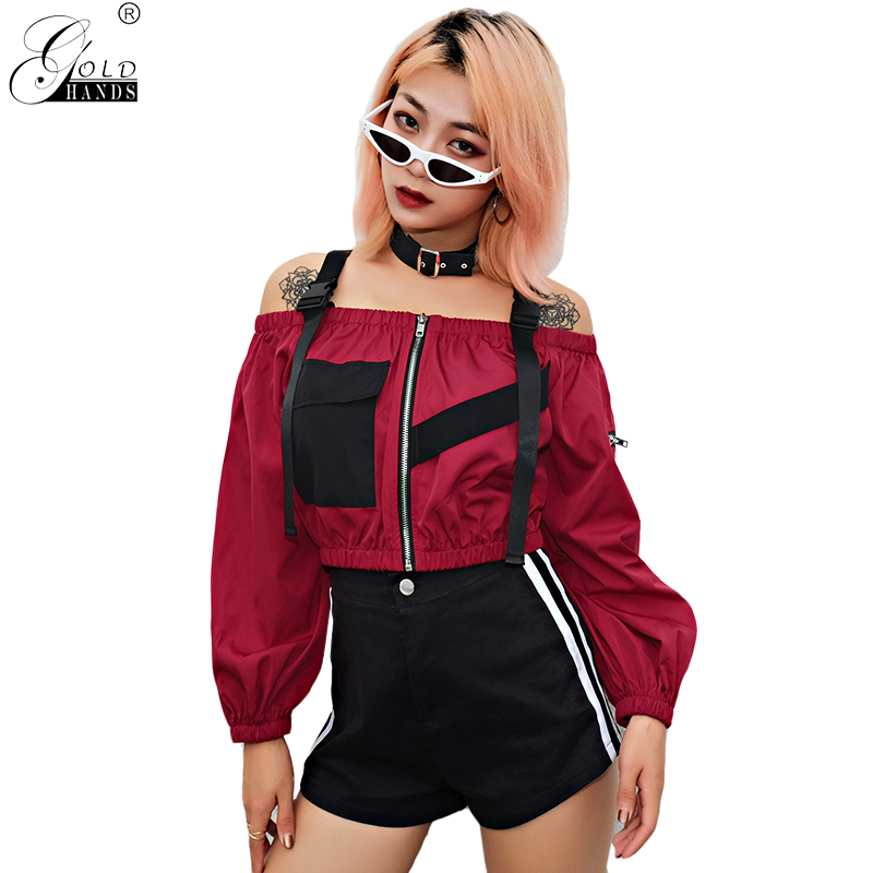 Women's Clothing Blouse Women New Tie Hollow Out 2019 Aliexpress Slash Neck Explosion Shoulder Straps Cropped Sleeve Shirt Vestidos Blk3022