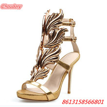 New Arrivals Winged Leaves font b Women b font Sandals High Heels font b Women b