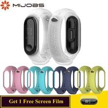 Купить с кэшбэком Mijobs Bracelet for Mi band 3 Strap Sport Silicone Wrist strap for Xiaomi mi band 3 Strap Smart Watch Band Corres Miband 3 Strap